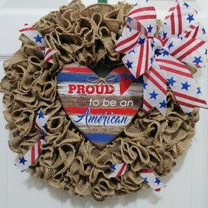 Other - Patriotic Burlap Wreath